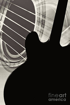 Photograph - Silhouette Gibson Guitar Image Wall Art 1744.011 by M K Miller