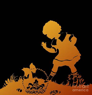 Digital Art - Silhouette Girl And Easter Basket Gold On Black by Rose Santuci-Sofranko