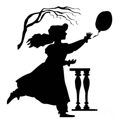 Digital Art - Silhouette Girl Chasing A Balloon by Rose Santuci-Sofranko
