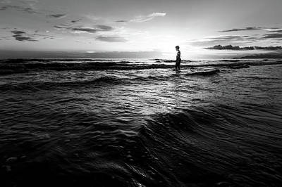 Photograph - Silhouette Of A Boy - Black And White Fine Art Backlit Boy At Sunset by Matteo Viviani