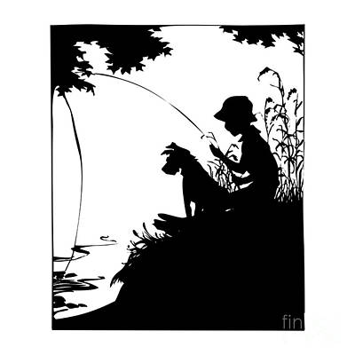Digital Art - Silhouette Of A Boy Fishing With His Dog by Rose Santuci-Sofranko