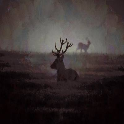 Painting - Silhouette Of A Highland Stag by Taiche Acrylic Art