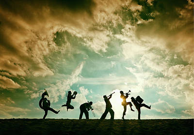 Clarinet Wall Art - Photograph - Silhouette Of Brass Band On Sand Dune by Dejan Patic