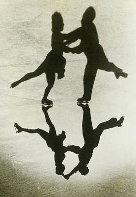 Photograph - Silhouette Of Couple Ice Skating by Fpg