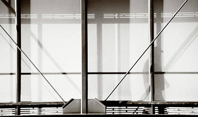 Photograph - Silhouette Of Man On Glass Bridge by Marilyn Hunt