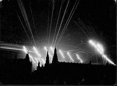 Photograph - Silhouette Of The Embattled Kremlin Lit by Margaret Bourke-white