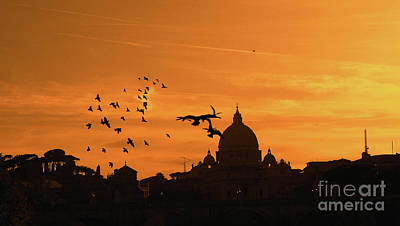 Whimsical Flowers - Silhouette - St. Peters Basilica at sunset  by Stefano Senise