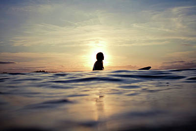 Photograph - Silhouetted Woman On Longboard by Sarah Lee