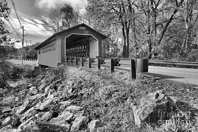 Photograph - Silk Covered Bridge Black And White by Adam Jewell