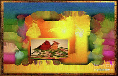 Digital Art - Silk-featherbrush Number 2 - Two Redbirds Of A Feather Cozy Together  by Aberjhani