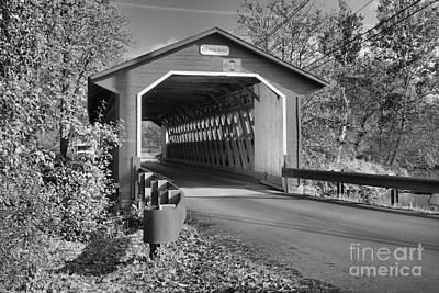 Photograph - Silk Road Covered Bridge Black And White by Adam Jewell