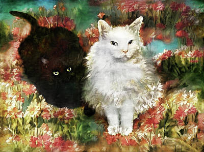 Digital Art - Silky And Mccartney In The Garden by Peggy Collins