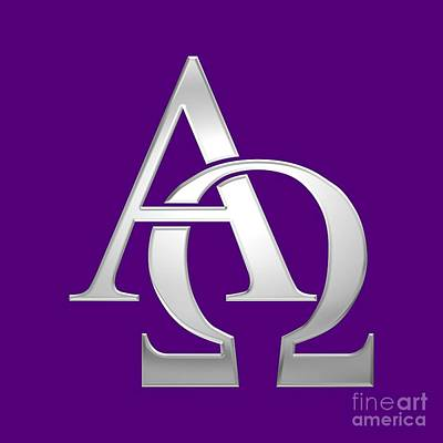 Digital Art - Silver Alpha And Omega Symbol by Rose Santuci-Sofranko