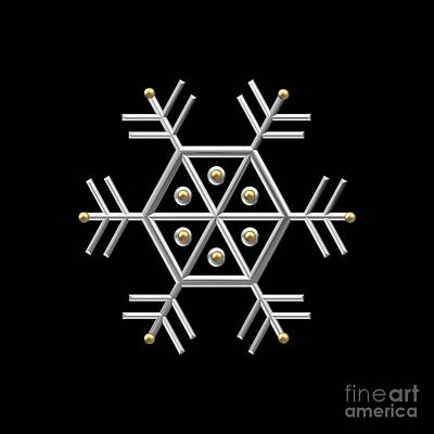 Digital Art - Silver And Gold Snowflake 2 At Midnight by Rose Santuci-Sofranko