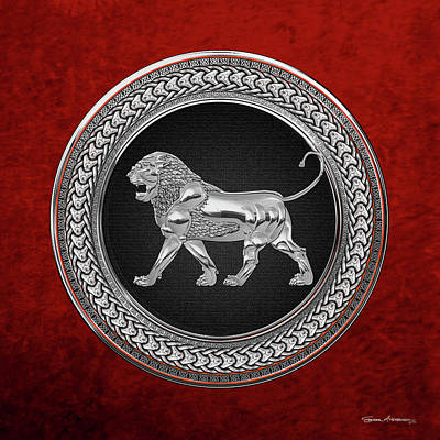 Digital Art - Silver Assyrian Lion On Black And Silver Medallion Over Red Velvet by Serge Averbukh