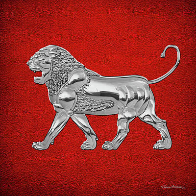 Digital Art - Silver Assyrian Lion Over Red Leather by Serge Averbukh