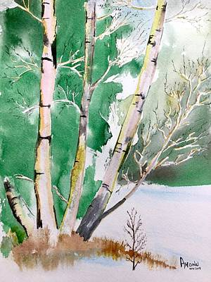 Painting - Silver Birch In Snow by Ahonu