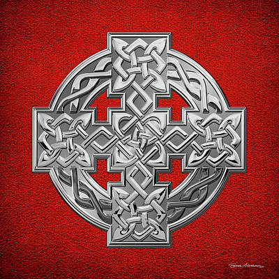 Digital Art - Silver Celtic Knot Cross Over Red Leather by Serge Averbukh