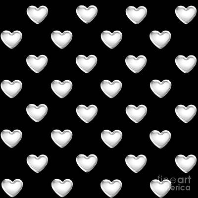 Digital Art - Silver Hearts On A Black Background Saint Valentines Day Love And Romance by Rose Santuci-Sofranko