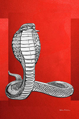 Digital Art - Silver King Cobra On Red Canvas by Serge Averbukh
