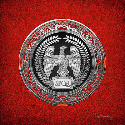 Digital Art - Silver Roman Imperial Eagle Over Red Leather by Serge Averbukh