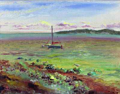 Painting - Silver Shores Seascape by David Bader