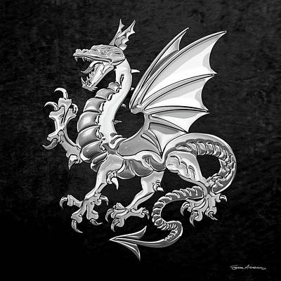 Digital Art - Silver Winged Norse Dragon - Icelandic Viking Landvaettir Over Black Velvet  by Serge Averbukh