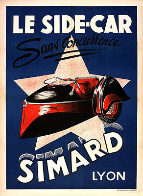 Painting - Simard Le Side Car Vintage French Advertising by Vintage French Advertising