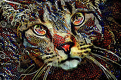 Digital Art - Simon The Tabby Cat by Peggy Collins