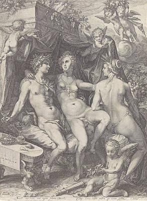 Drawing - Sine Bacchus Et Ceres Friget Venus by Jan Saenredam