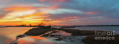 Photograph - Sinepuxent Bay Sunset Panorama  by Michael Ver Sprill