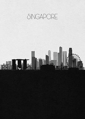 Digital Art - Singapore Cityscape Art by Inspirowl Design