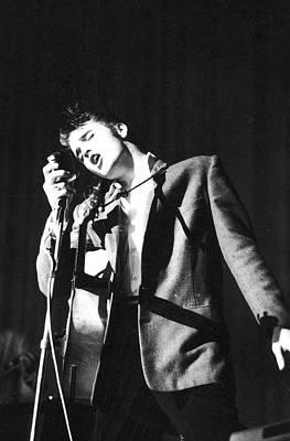 Photograph - Singer Elvis Presley Performing At Mike by Robert W. Kelley