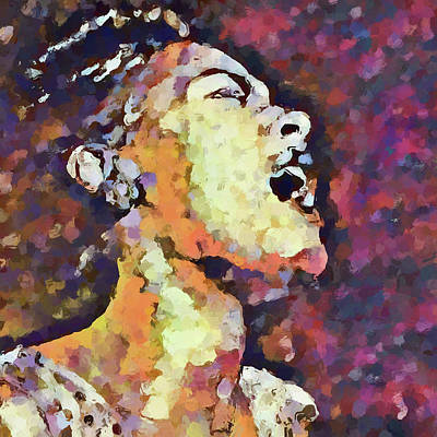 Painting - Singing Billie Holiday by Dan Sproul