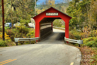 Photograph - Single Lane Chiselville Covered Bridge by Adam Jewell