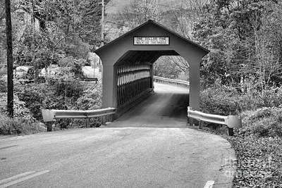 Photograph - Single Lane Chiselville Covered Bridge Black And White by Adam Jewell