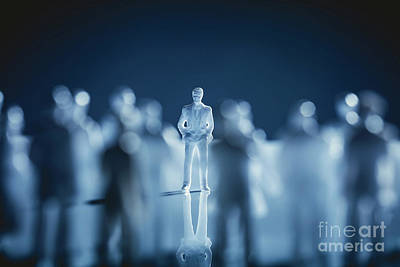 Photograph - Single Man Standing In A Crowd. by Michal Bednarek