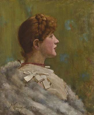 Classical Masterpiece Still Life Paintings - Sir John Lavery R A  R H A R S A 1856 1941 GIRL IN A FUR WRAP by Celestial Images