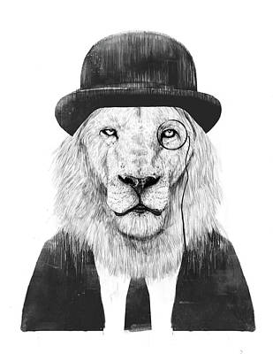 Funny Mixed Media - Sir Lion by Balazs Solti