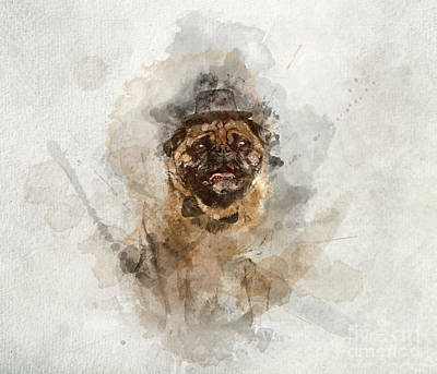 Watercolor Pet Portraits Photograph - Sir Pug Dog In A Cylinder And Bowtie In Watercolors. by Michal Bednarek