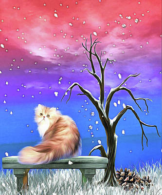 Digital Art - sitting in Snowflakes by Elaine Manley
