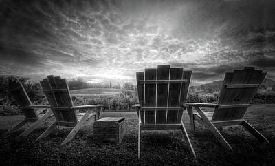 Photograph - Sitting Pretty On A Foggy Morning Black And White by Debra and Dave Vanderlaan