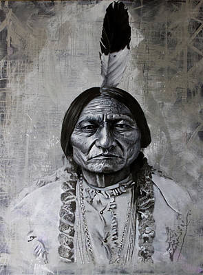 Painting - SittingBull with 1 Feather by Danny Frost