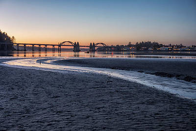 Photograph - Siuslaw River Bridge And Florence At Dusk, No. 2 by Belinda Greb