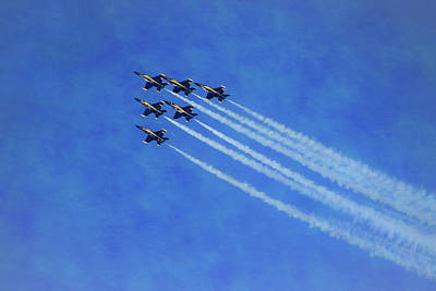 Photograph - Six Blue Angels Pastel by Bonnie Follett