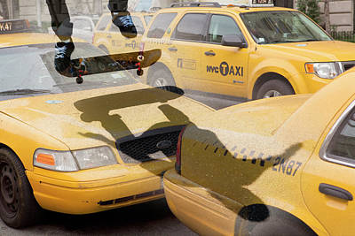 Photograph - Skate Boarding Over New York Taxis by Nick Dolding