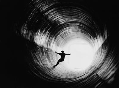 Photograph - Skateboarding Down The Storm Drain by George Rose