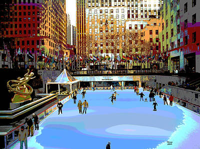 City Sunset Mixed Media - Skaters At Rockefeller Cente by Charles Shoup
