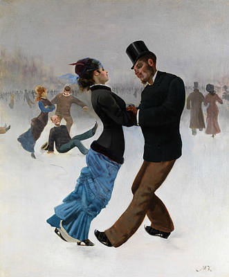 Painting - Skaters by Max Klinger