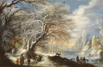 Dog Christmas Cards Wall Art - Painting - Skaters On A Canal Or Winter Landscape by Gysbrecht Lytens or Leytens